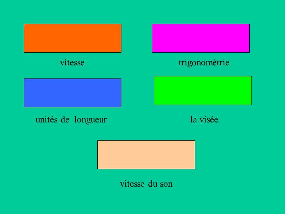 vitesse trigonométrie unités de longueurla visée vitesse du son