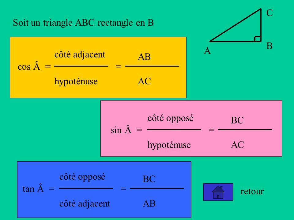 A B C Soit un triangle ABC rectangle en B cos = côté adjacent hypoténuse = AB AC sin = côté opposé hypoténuse = BC AC tan = côté opposé côté adjacent = BC AB retour