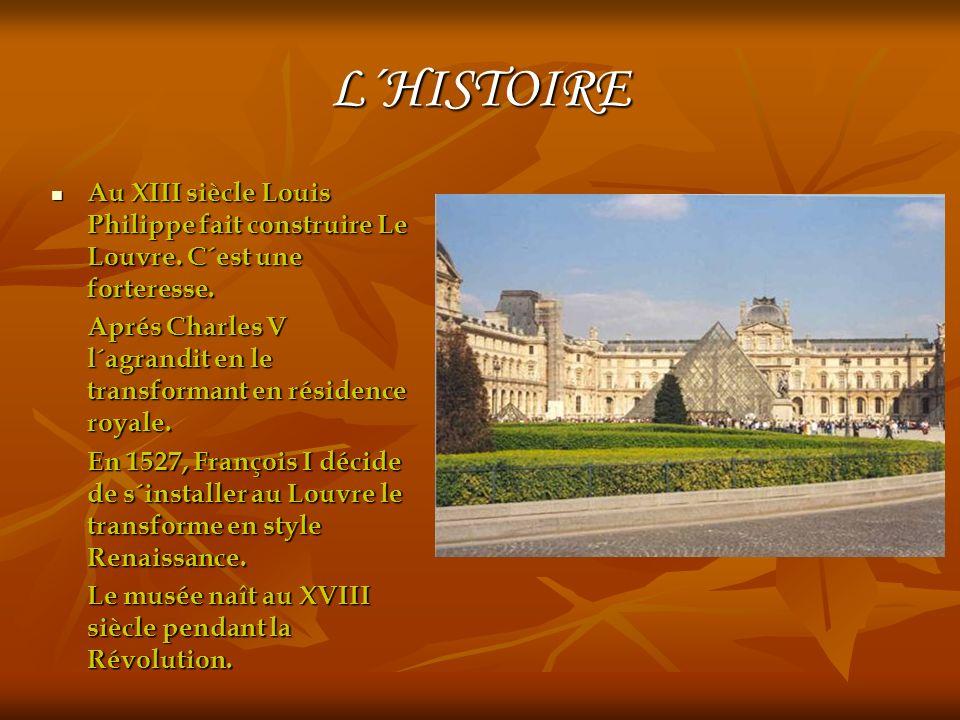 L´HISTOIRE Au XIII siècle Louis Philippe fait construire Le Louvre.