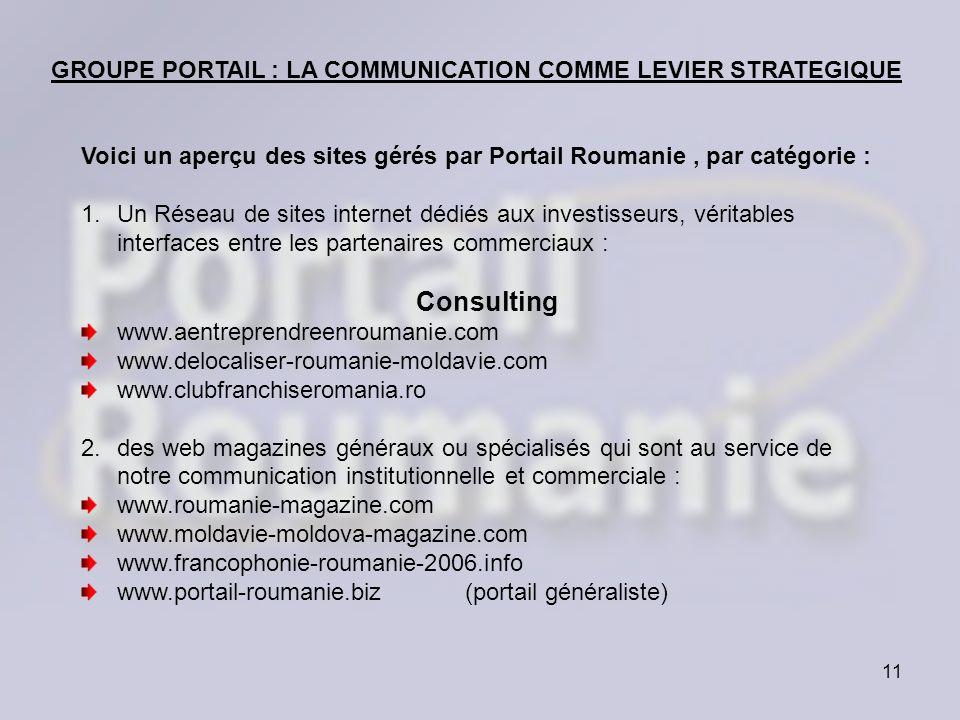 11 Voici un aperçu des sites gérés par Portail Roumanie, par catégorie : 1.Un Réseau de sites internet dédiés aux investisseurs, véritables interfaces