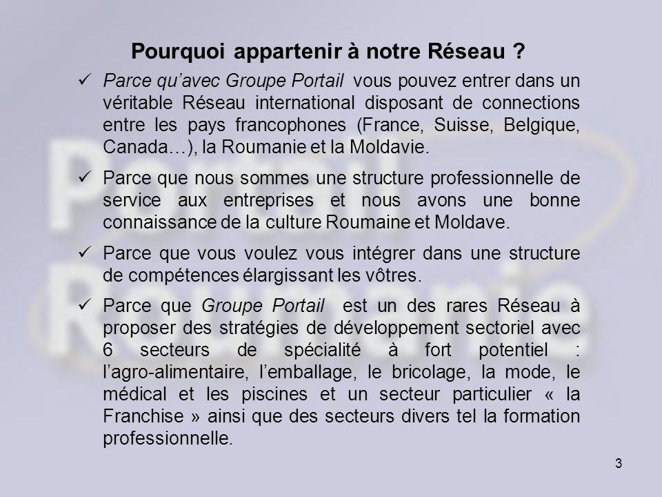 3 Pourquoi appartenir à notre Réseau ? Parce quavec Groupe Portail vous pouvez entrer dans un véritable Réseau international disposant de connections