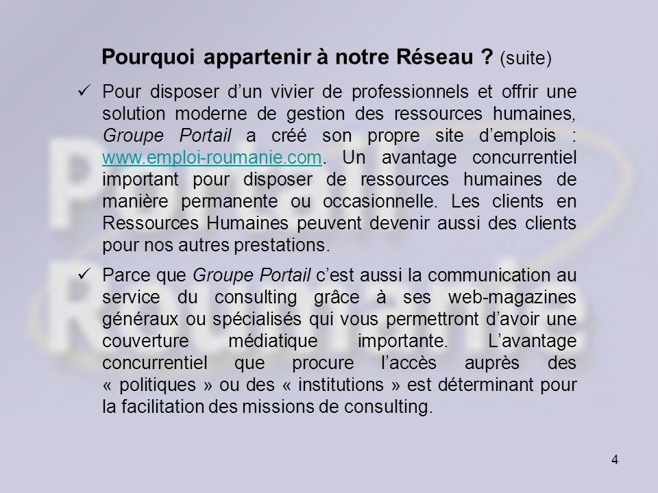 4 Pourquoi appartenir à notre Réseau ? (suite) Pour disposer dun vivier de professionnels et offrir une solution moderne de gestion des ressources hum