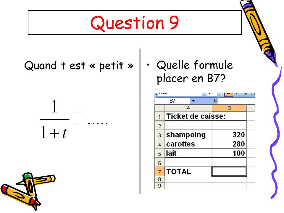 Question 9 Quand t est « petit » Quelle formule placer en B7?