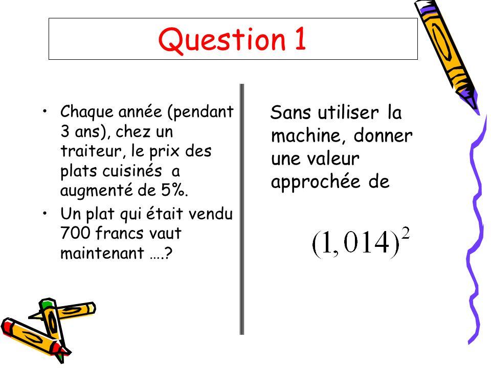 Question 1 Chaque année (pendant 3 ans), chez un traiteur, le prix des plats cuisinés a augmenté de 5%. Un plat qui était vendu 700 francs vaut mainte