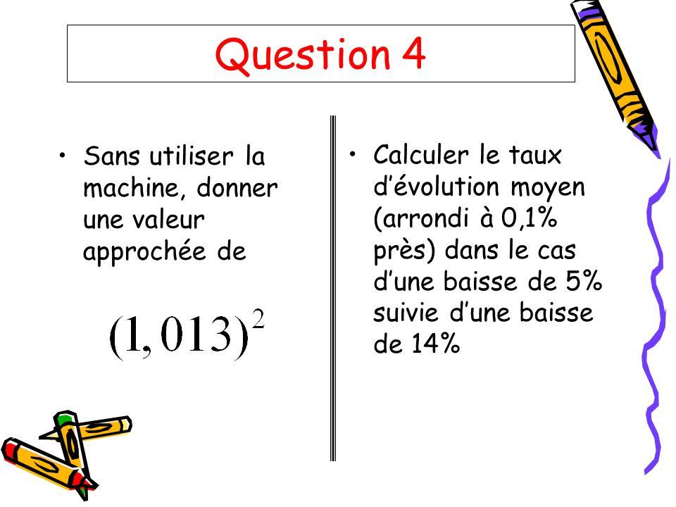 Question 4 Sans utiliser la machine, donner une valeur approchée de Calculer le taux dévolution moyen (arrondi à 0,1% près) dans le cas dune baisse de