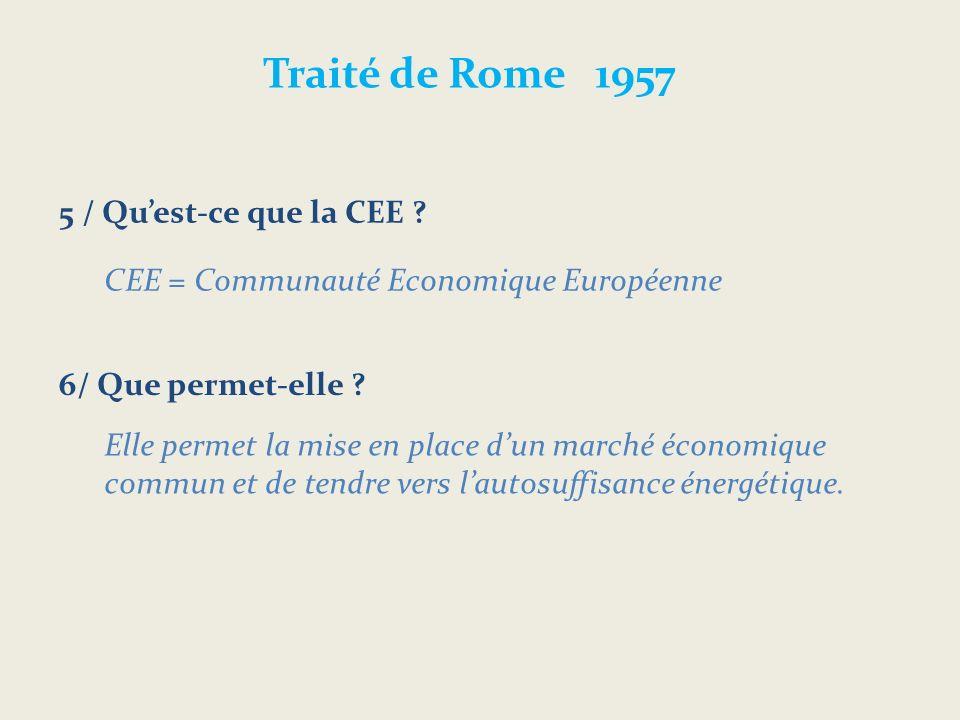 Traité de Rome 1957 5 / Quest-ce que la CEE .6/ Que permet-elle .