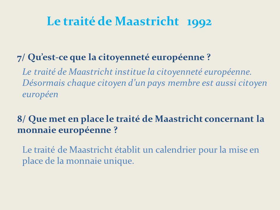 Le traité de Maastricht 1992 7/ Quest-ce que la citoyenneté européenne .