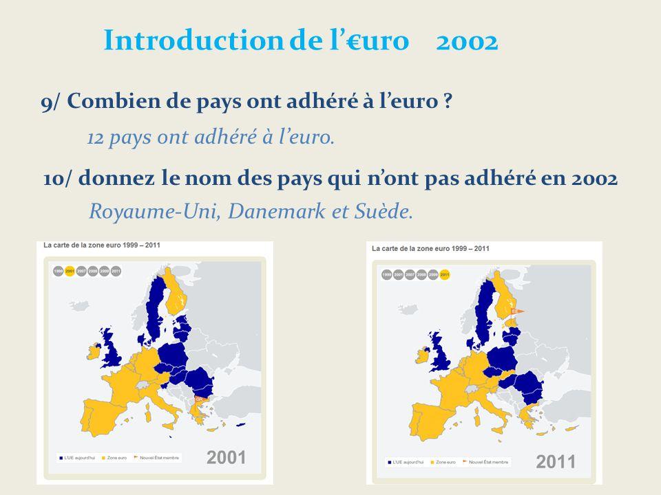 Introduction de luro 2002 9/ Combien de pays ont adhéré à leuro .