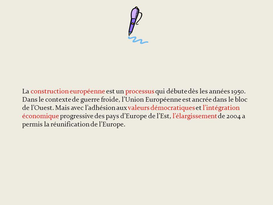 La construction européenne est un processus qui débute dès les années 1950.
