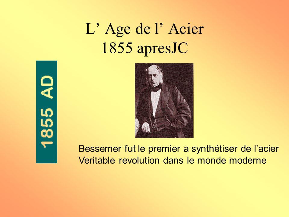 L Age de l Acier 1855 apresJC Bessemer fut le premier a synthétiser de lacier Veritable revolution dans le monde moderne