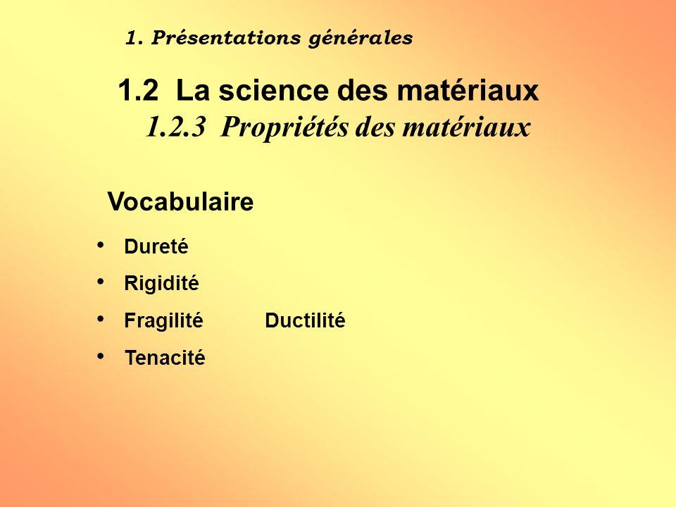 Vocabulaire Dureté Rigidité FragilitéDuctilité Tenacité 1.
