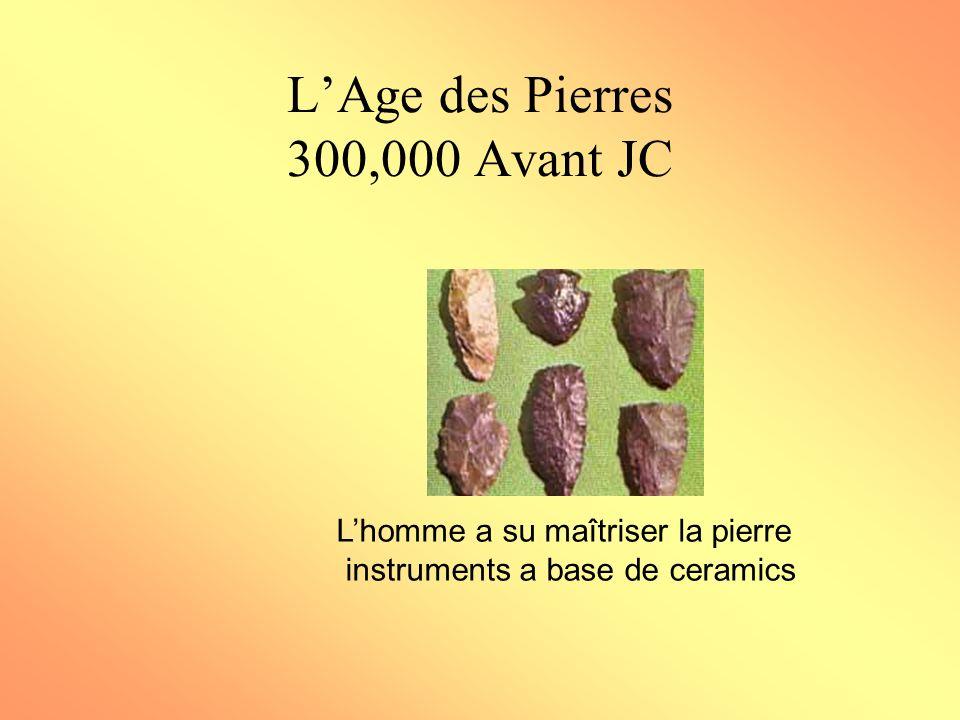 LAge des Pierres 300,000 Avant JC Lhomme a su maîtriser la pierre instruments a base de ceramics