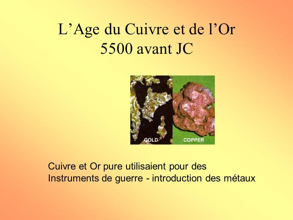 LAge du Cuivre et de lOr 5500 avant JC Cuivre et Or pure utilisaient pour des Instruments de guerre - introduction des métaux