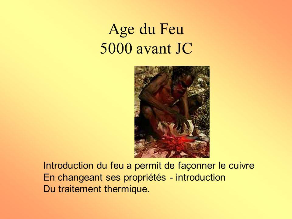 Age du Feu 5000 avant JC Introduction du feu a permit de façonner le cuivre En changeant ses propriétés - introduction Du traitement thermique.