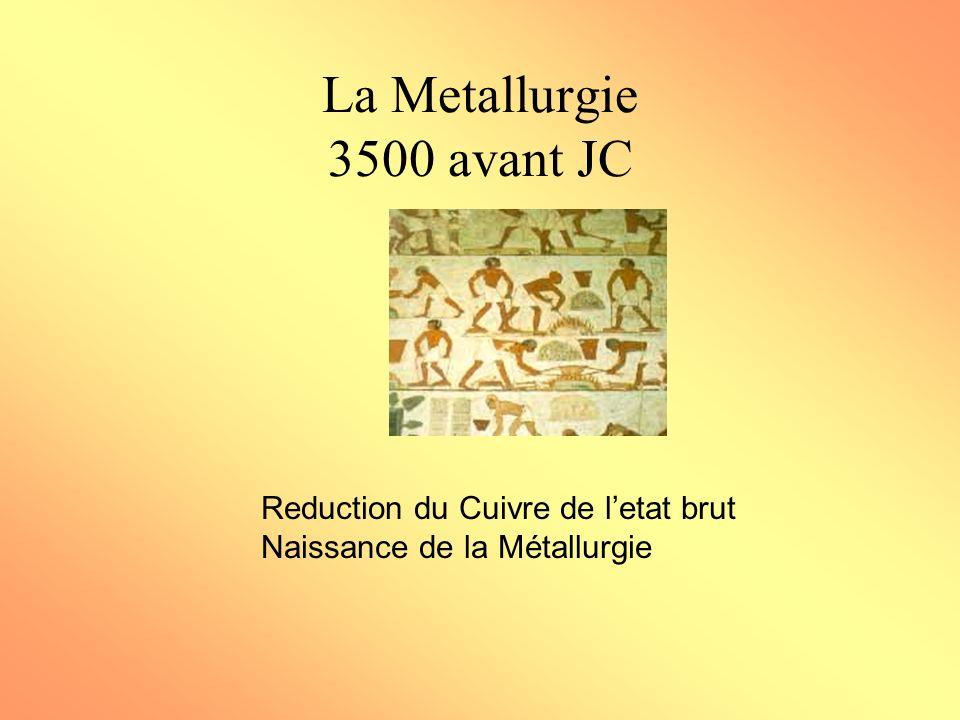 La Metallurgie 3500 avant JC Reduction du Cuivre de letat brut Naissance de la Métallurgie