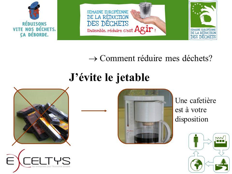 Comment réduire mes déchets Jévite le jetable Une cafetière est à votre disposition