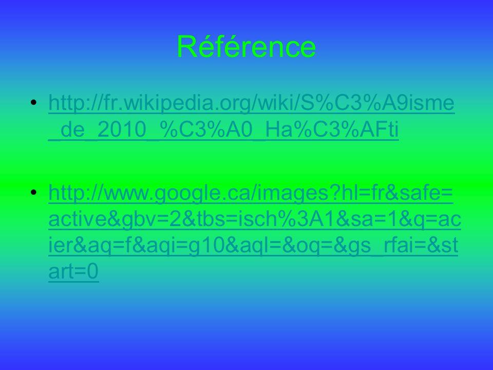 Référence http://fr.wikipedia.org/wiki/S%C3%A9isme _de_2010_%C3%A0_Ha%C3%AFtihttp://fr.wikipedia.org/wiki/S%C3%A9isme _de_2010_%C3%A0_Ha%C3%AFti http: