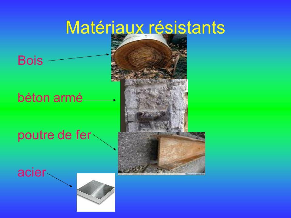 Matériaux résistants Bois béton armé poutre de fer acier