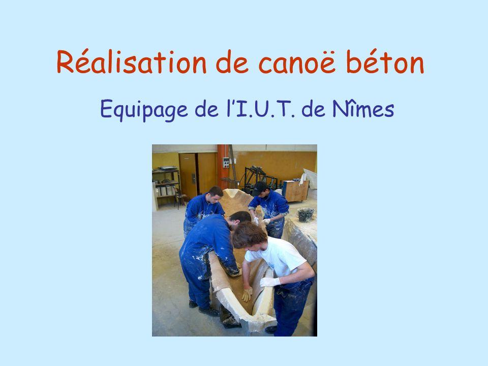 Réalisation de canoë béton Equipage de lI.U.T. de Nîmes