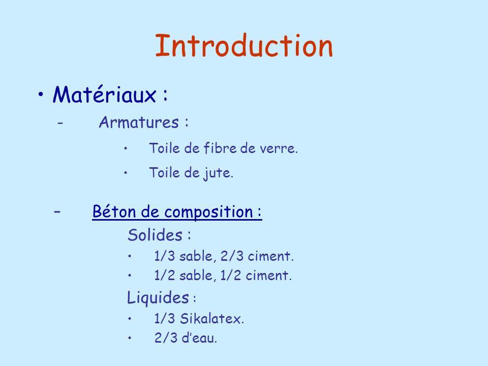Introduction –Béton de composition :Béton de composition : Solides : 1/3 sable, 2/3 ciment. 1/2 sable, 1/2 ciment. Liquides : 1/3 Sikalatex. 2/3 deau.