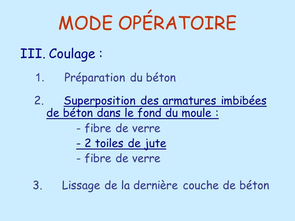 MODE OPÉRATOIRE 2. Superposition des armatures imbibées de béton dans le fond du moule :Superposition des armatures imbibées de béton dans le fond du