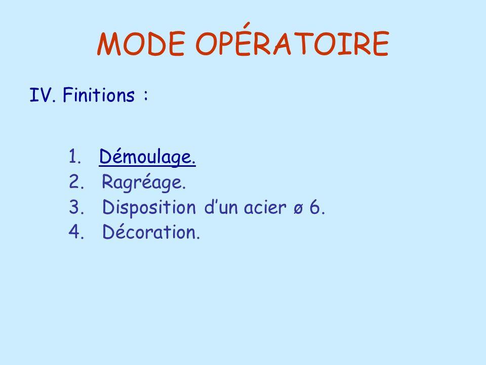 MODE OPÉRATOIRE 1. Démoulage.Démoulage. 2. Ragréage. 3. Disposition dun acier ø 6. 4. Décoration. IV. Finitions :