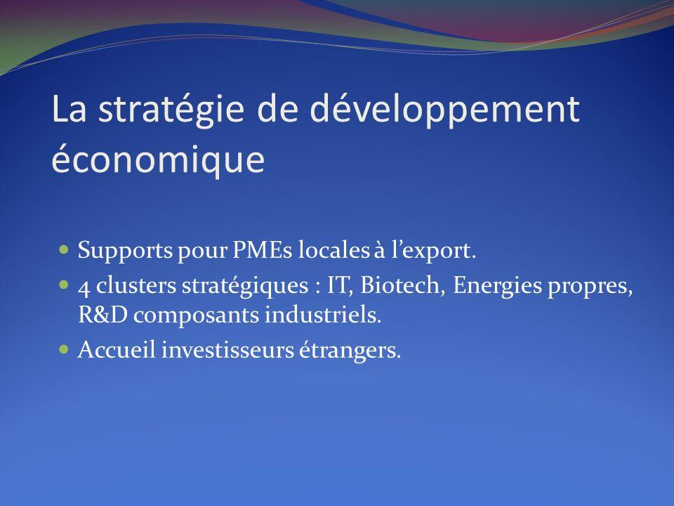La stratégie de développement économique Supports pour PMEs locales à lexport. 4 clusters stratégiques : IT, Biotech, Energies propres, R&D composants