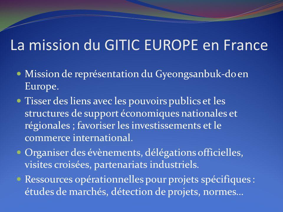 La mission du GITIC EUROPE en France Mission de représentation du Gyeongsanbuk-do en Europe. Tisser des liens avec les pouvoirs publics et les structu