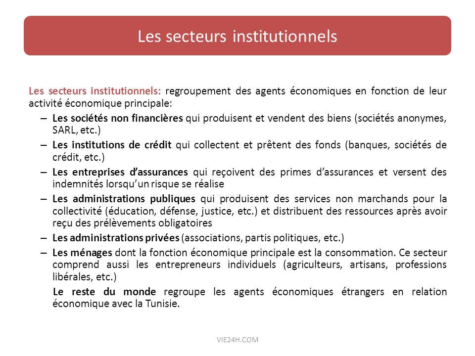 Les secteurs institutionnels: regroupement des agents économiques en fonction de leur activité économique principale: – Les sociétés non financières q
