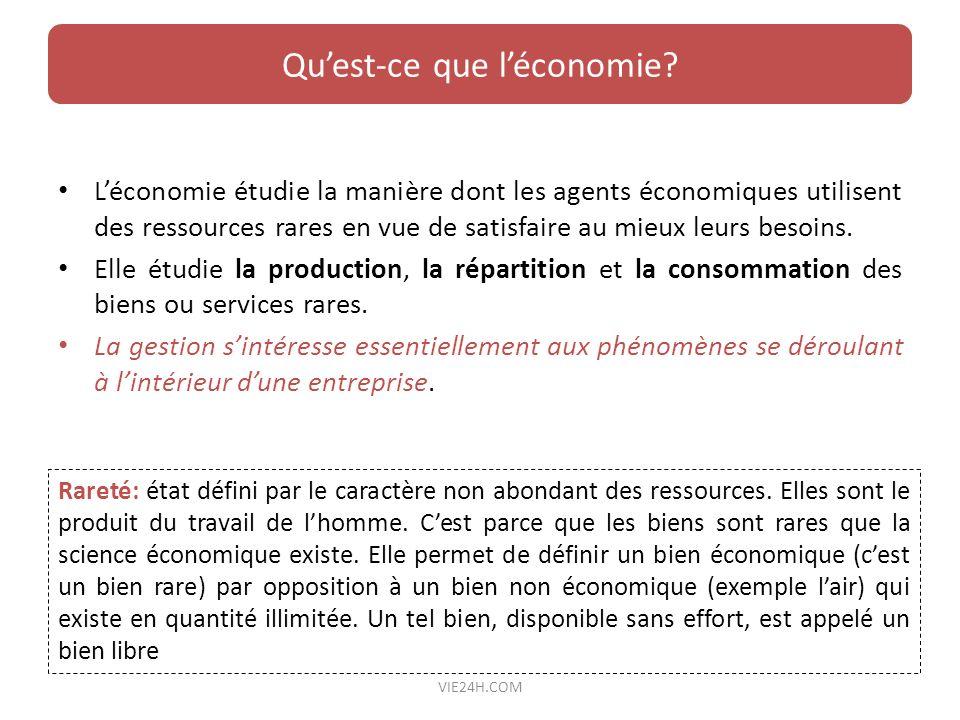 Léconomie étudie la manière dont les agents économiques utilisent des ressources rares en vue de satisfaire au mieux leurs besoins. Elle étudie la pro