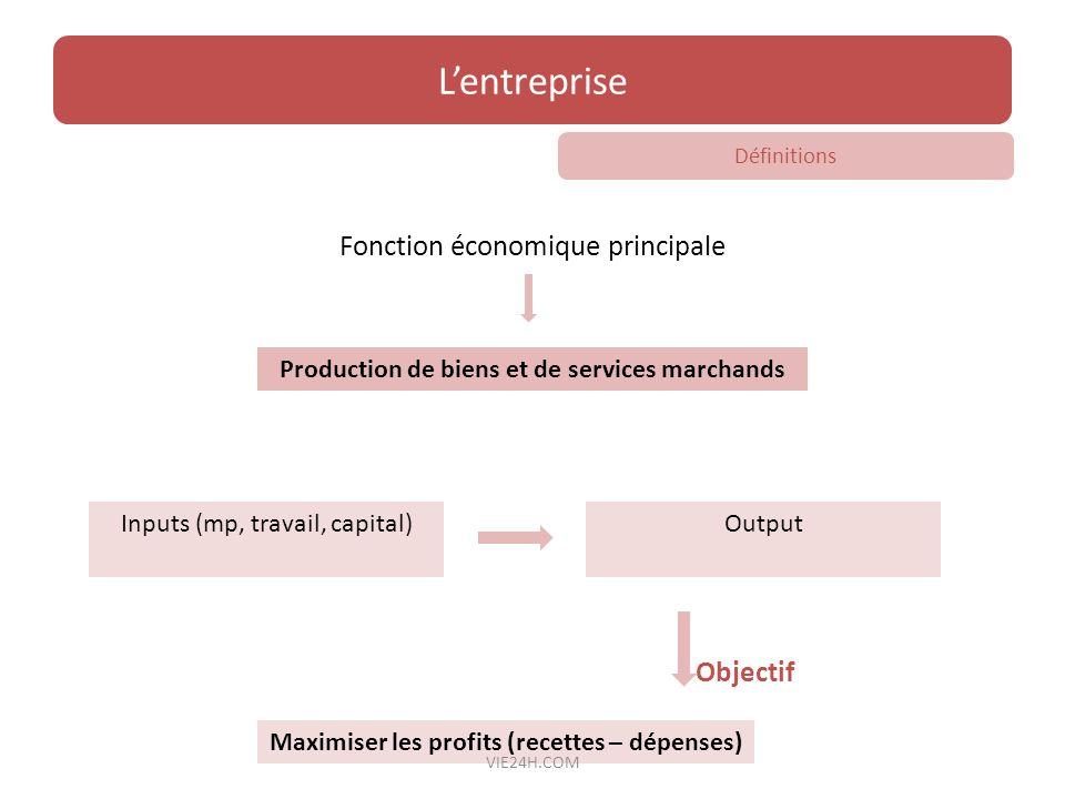 Fonction économique principale Objectif Lentreprise Production de biens et de services marchands Maximiser les profits (recettes – dépenses) Inputs (m