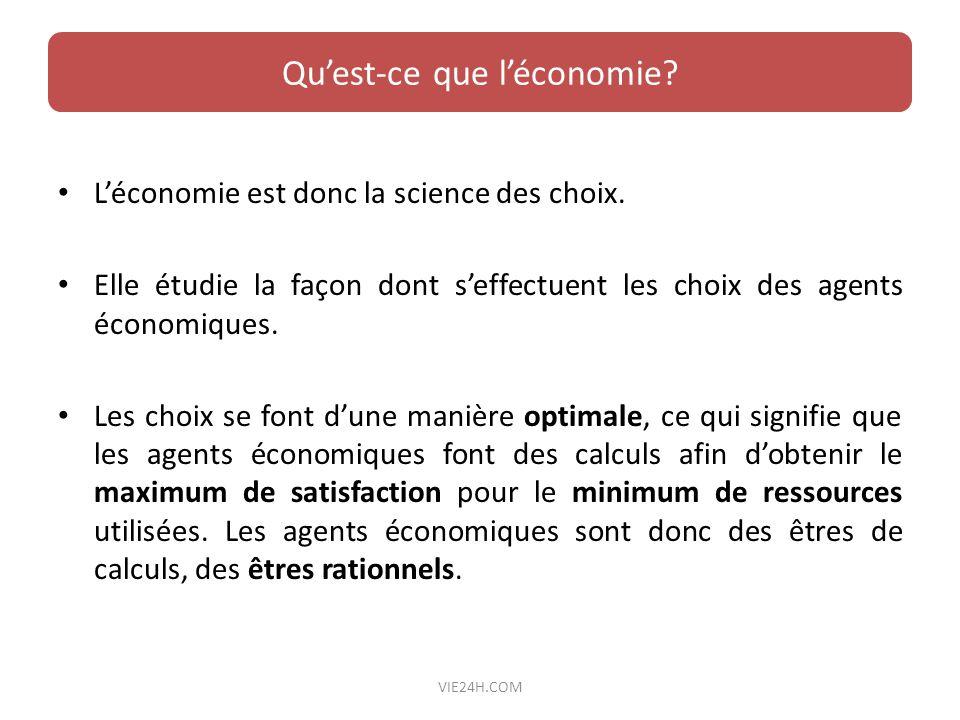 Léconomie est donc la science des choix. Elle étudie la façon dont seffectuent les choix des agents économiques. Les choix se font dune manière optima