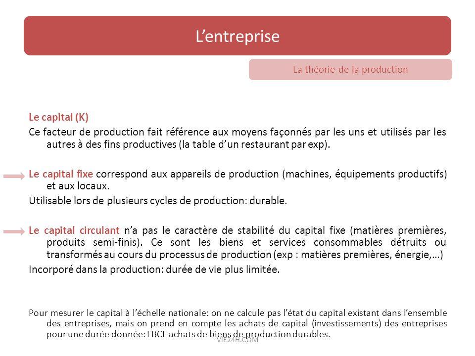 Le capital (K) Ce facteur de production fait référence aux moyens façonnés par les uns et utilisés par les autres à des fins productives (la table dun