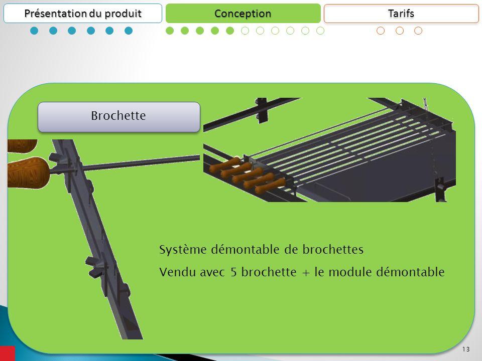13 Conception Présentation du produit Système démontable de brochettes Vendu avec 5 brochette + le module démontable Brochette Tarifs