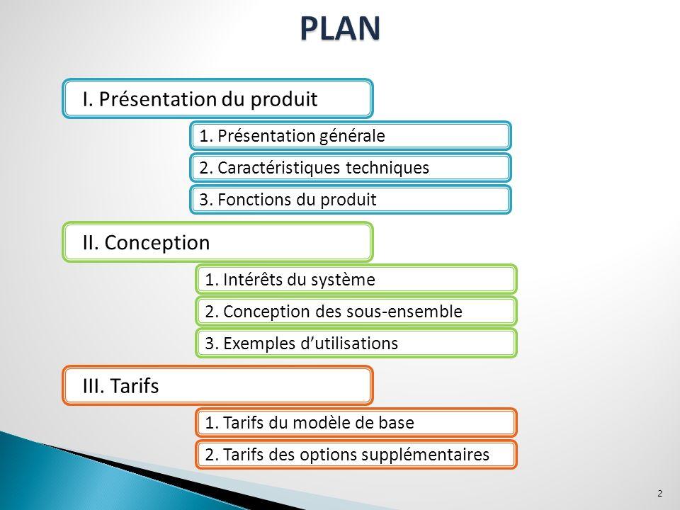 I.Présentation du produit II. Conception III. Tarifs 1.