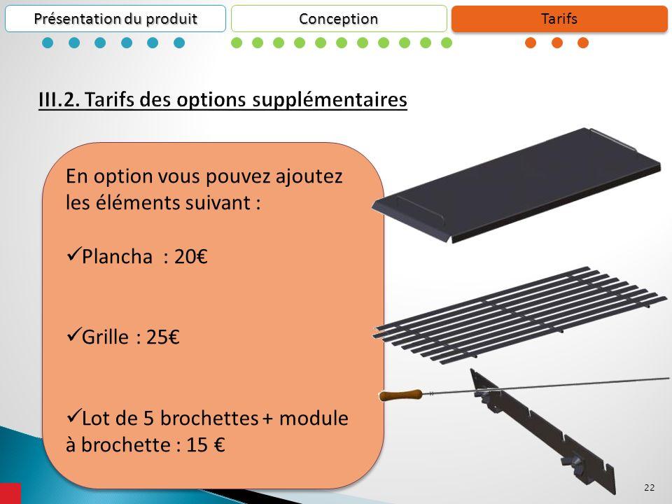 22 Conception Présentation du produit Tarifs En option vous pouvez ajoutez les éléments suivant : Plancha : 20 Grille : 25 Lot de 5 brochettes + module à brochette : 15 En option vous pouvez ajoutez les éléments suivant : Plancha : 20 Grille : 25 Lot de 5 brochettes + module à brochette : 15