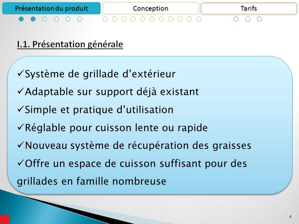 4 Conception Présentation du produit Système de grillade dextérieur Adaptable sur support déjà existant Simple et pratique dutilisation Réglable pour