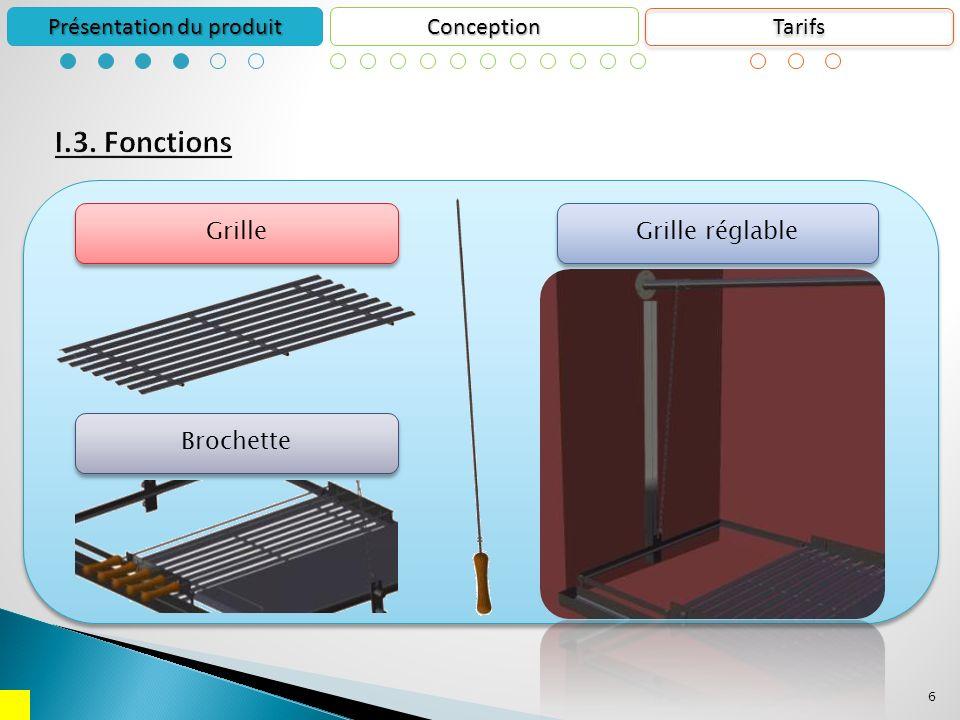 6 Conception Présentation du produit Grille Grille réglable Brochette Tarifs