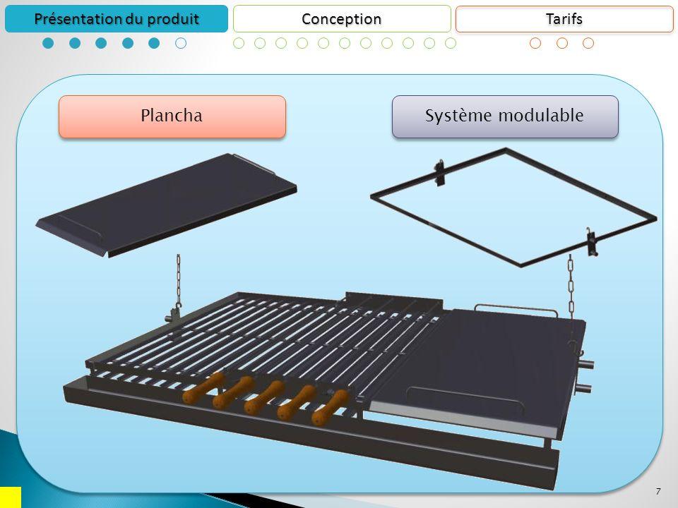 7 Conception Présentation du produit Plancha Système modulable Tarifs