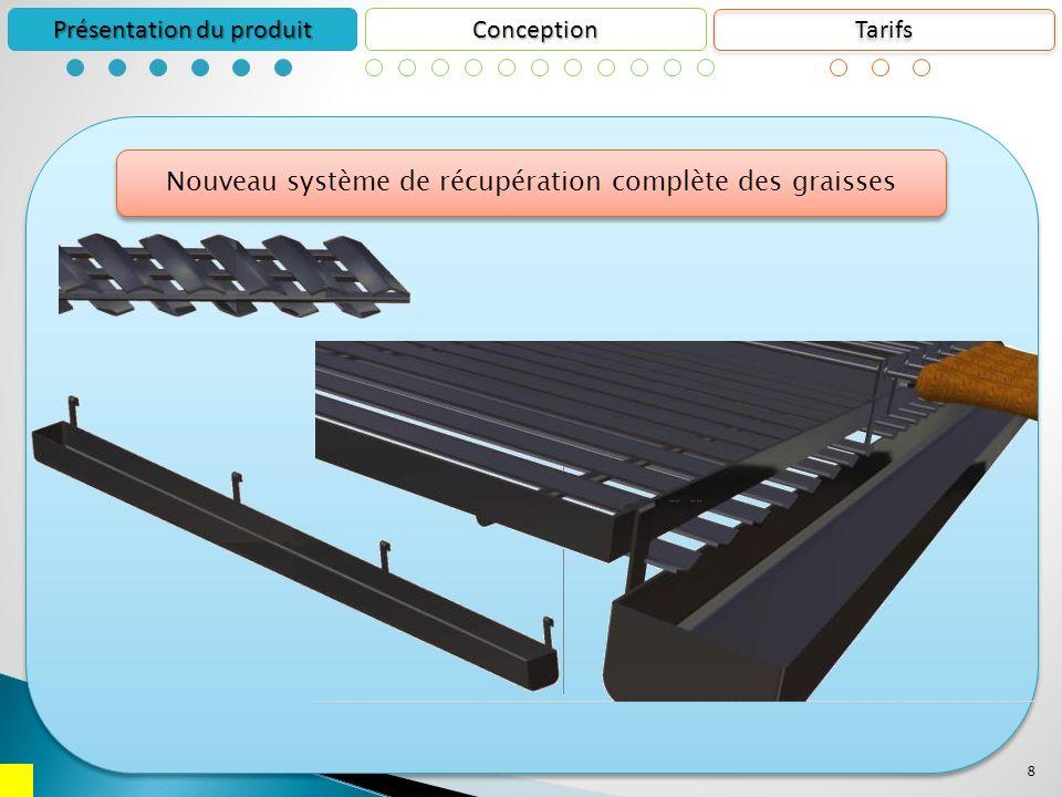 8 Conception Présentation du produit Nouveau système de récupération complète des graisses Tarifs