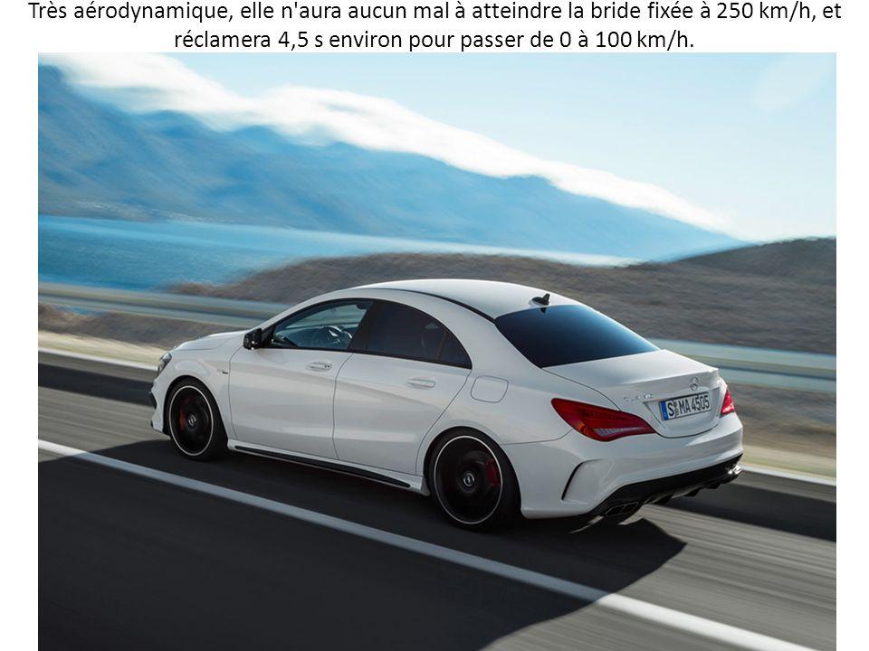 Très aérodynamique, elle n'aura aucun mal à atteindre la bride fixée à 250 km/h, et réclamera 4,5 s environ pour passer de 0 à 100 km/h.