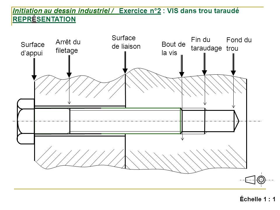 Initiation au dessin industriel / Exercice n°2 : VIS dans trou taraudé REPRÉSENTATION Échelle 1 : 1 Surface dappui Surface de liaison Arrêt du filetage Bout de la vis Fin du taraudage Fond du trou