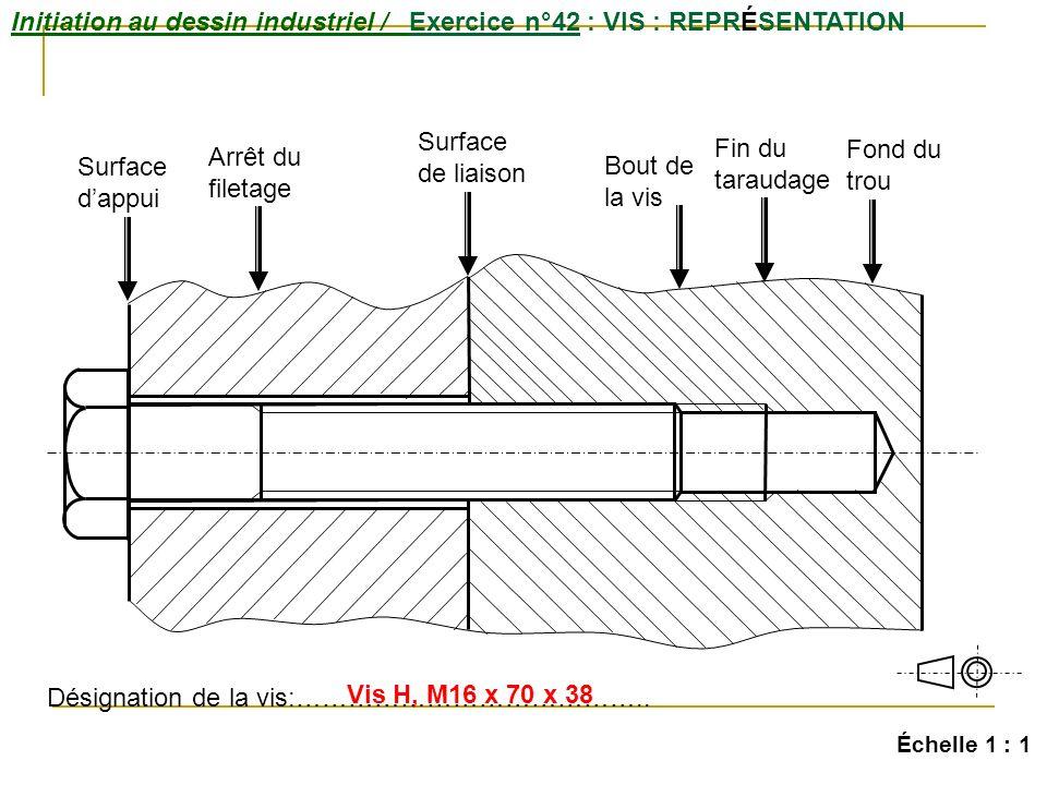Initiation au dessin industriel / Exercice n°42 : VIS : REPRÉSENTATION Échelle 1 : 1 Surface dappui Surface de liaison Arrêt du filetage Bout de la vis Fin du taraudage Fond du trou Désignation de la vis:…………………………………..