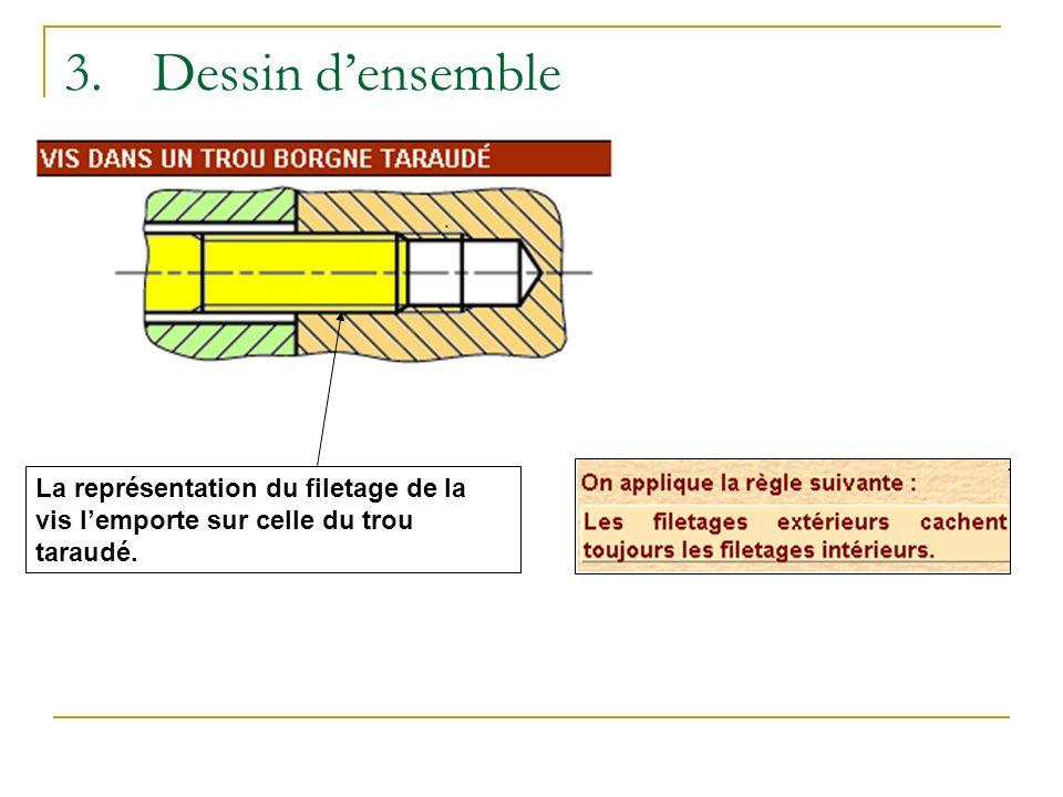 3.Dessin densemble La représentation du filetage de la vis lemporte sur celle du trou taraudé.