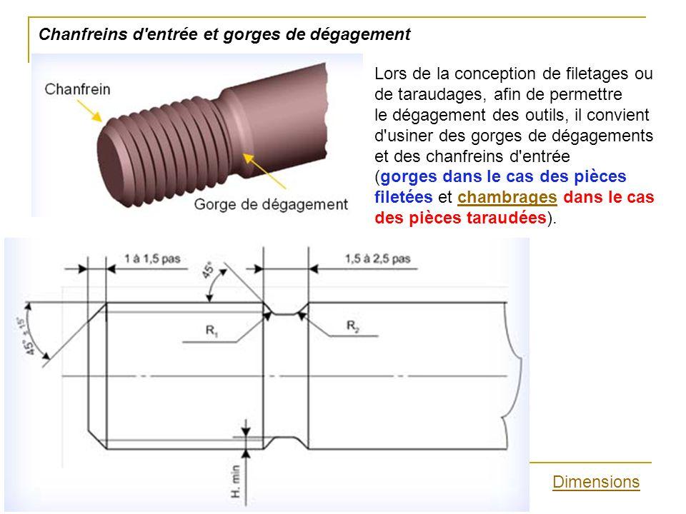 Chanfreins d'entrée et gorges de dégagement Lors de la conception de filetages ou de taraudages, afin de permettre le dégagement des outils, il convie