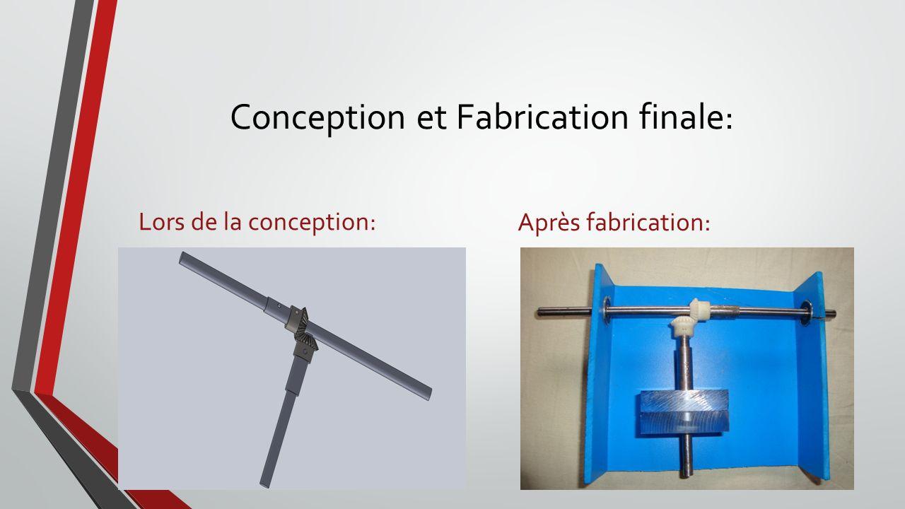 Conception et Fabrication finale: Lors de la conception: Après fabrication: