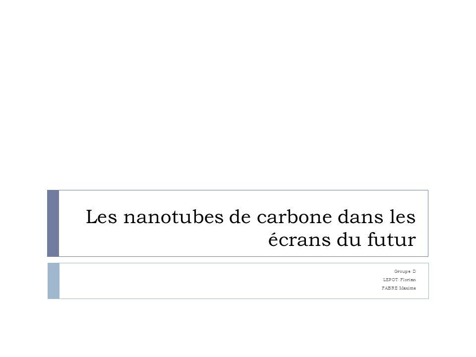 Les nanotubes de carbone dans les écrans du futur Groupe D LEPOT Florian FABRE Maxime
