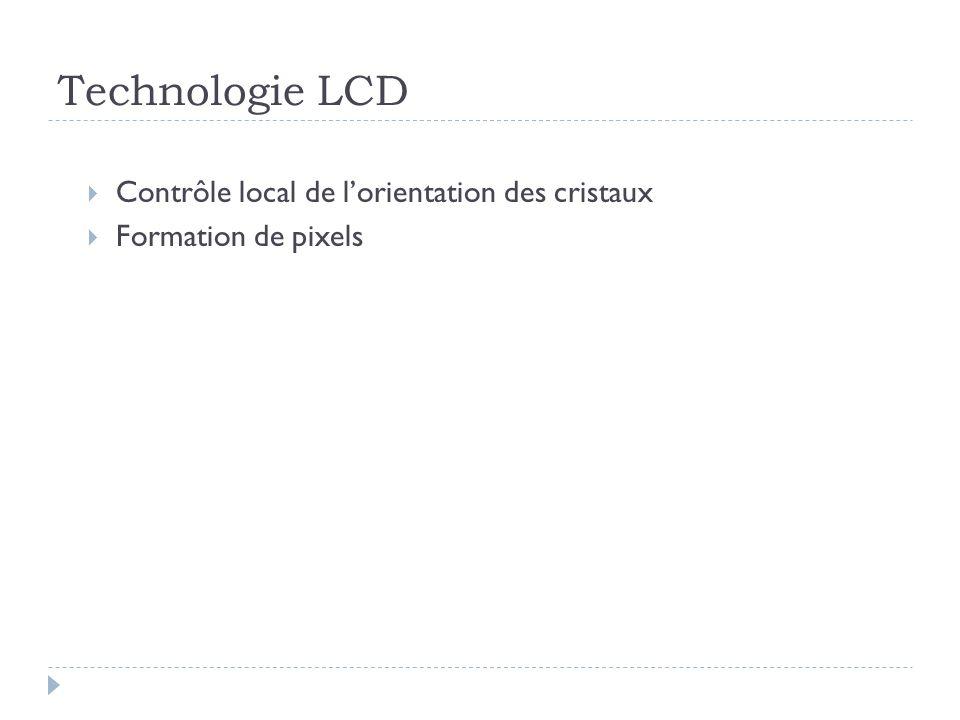 Technologie LCD Contrôle local de lorientation des cristaux Formation de pixels