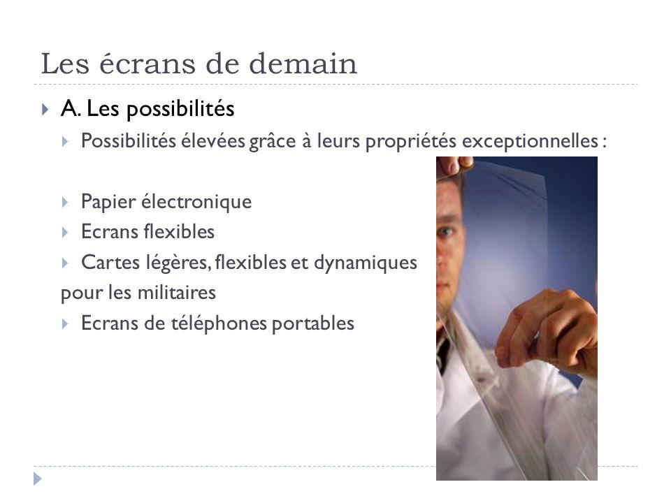 Les écrans de demain A. Les possibilités Possibilités élevées grâce à leurs propriétés exceptionnelles : Papier électronique Ecrans flexibles Cartes l