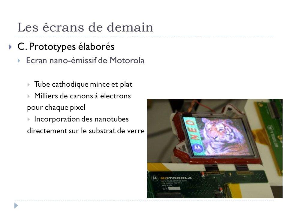 Les écrans de demain C. Prototypes élaborés Ecran nano-émissif de Motorola Tube cathodique mince et plat Milliers de canons à électrons pour chaque pi